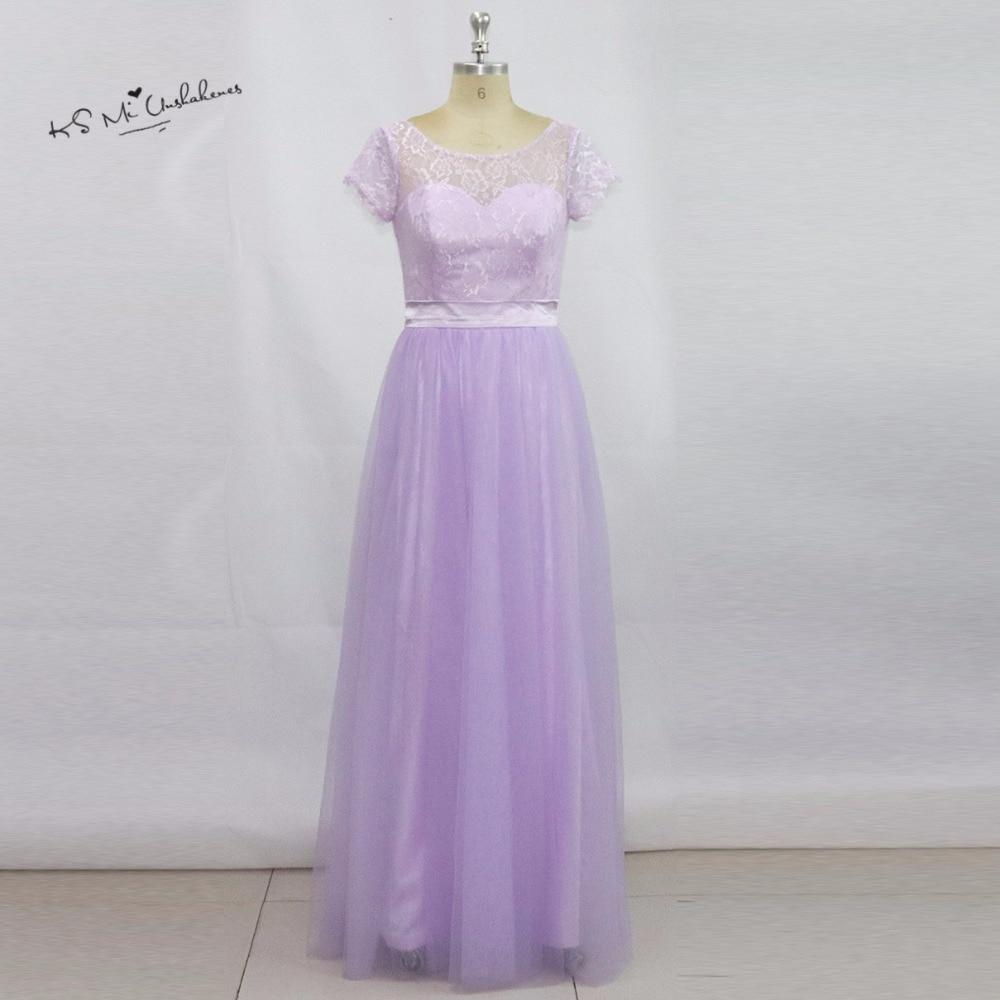 Vestidos de Festa Vestido Longo Beautiful Lavender Long   Bridesmaid     Dress   Lace 2017 Cheap Wedding Party   Dresses   Cap Sleeve Sash