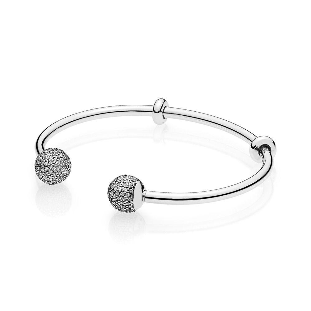 925 bracelets en argent Sterling forme ronde pleine boucle en cristal pour les femmes bricolage bijoux à breloques