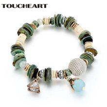 Женский браслет шарма toucheart модный зеленого цвета с кристаллами
