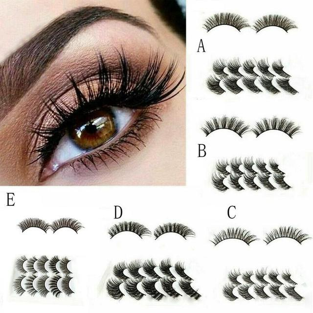 5Pair Mink Hair False Eyelashes Natural Cross False Eyelashes Long Messy Makeup Fake Eye Lashes Extension Make Up Beauty Tools 4