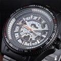 GANADOR Nueva Moda Esqueleto Relojes de Pulsera Negro Reloj Mecánico Automático de Los Hombres Reloj Militar de La Manera Correa de Acero Inoxidable