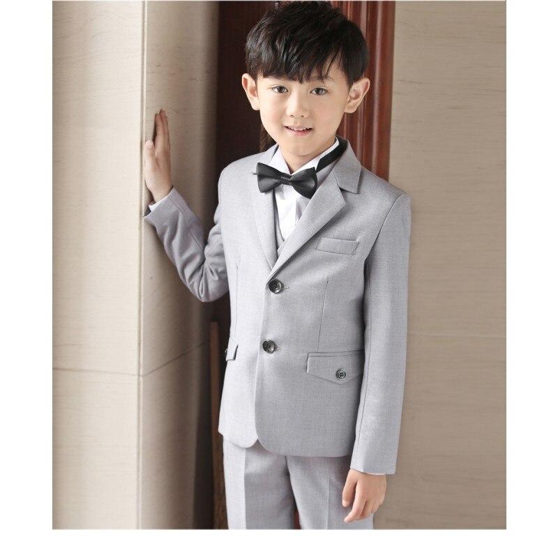 7cf93855a9c0 Wedding Suit Boys Include Jackets Pants Shirt Bow Tie Kids Blazer ...