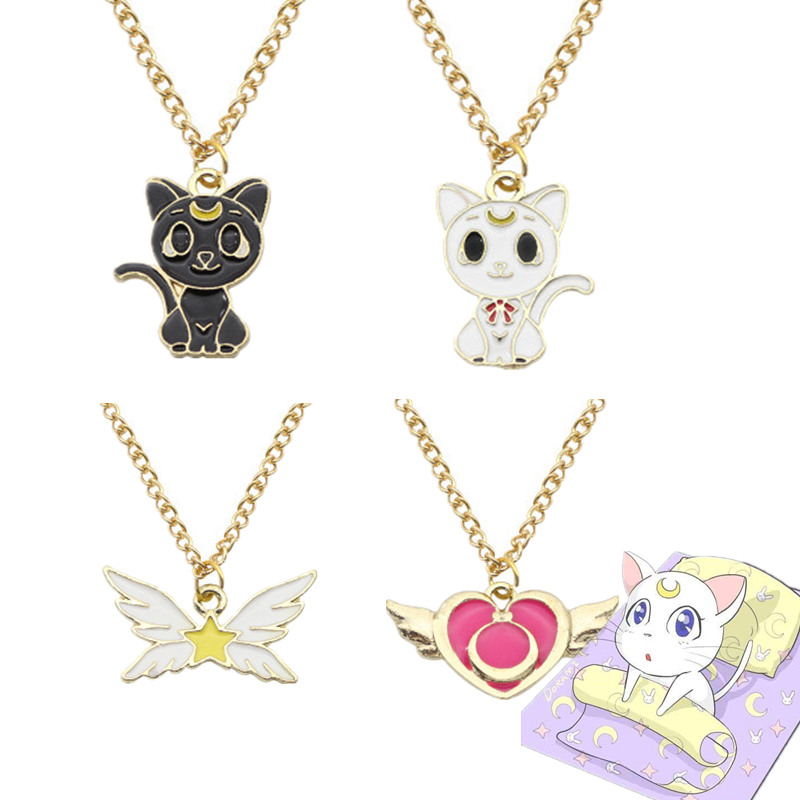 Costume Props Anime Sailor Moon Cosplay Accessories Necklace Luna Artemis Pendant Kawaii Cat Alloy Costumes & Accessories