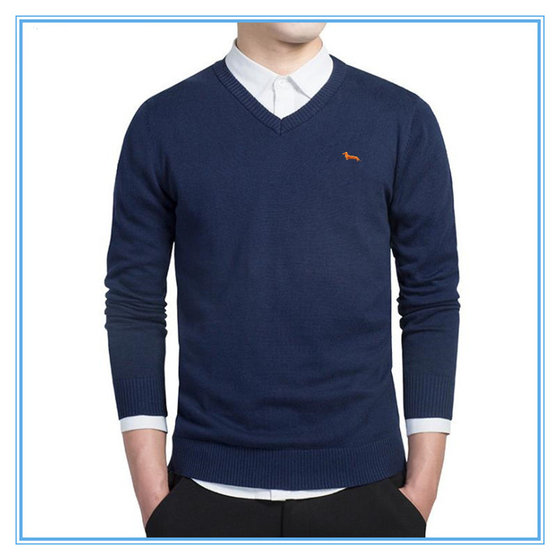 2017 brand clothing New spring sweater men harmont V-neck long sleeve solid pull homme embroidery pullover men sweaters S0050