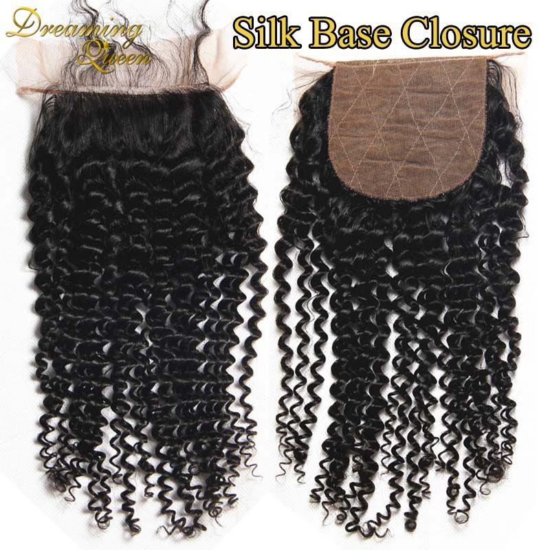ФОТО Top Quality Silk Base Closure Kinky Curly Brazilian Virgin Hair 4x4 Silk Base Closure Free Middle 3 Part Closure