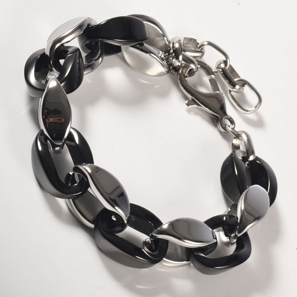 Wollet Jewelry Stainless Steel Black Ceramic Bracelet Bangle for Women Men Mixed With Negative Ion Powder Health Healing Energy in Chain Link Bracelets from Jewelry Accessories