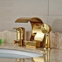 Wholesale And Retail Golden Deck Mount Waterfall Bathtub Faucet Ceramic Valve 3 Holes Diverter Mixer Tap