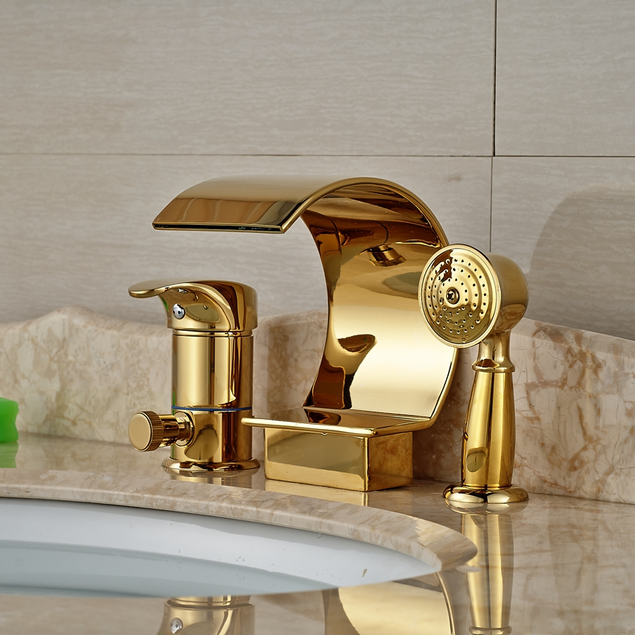 deck mount tub faucet with diverter. Wholesale And Retail Golden Deck Mount Waterfall Bathtub Faucet Ceramic  Valve 3 Holes Diverter Mixer Tap W Hand Shower Sprayer In Faucets From Home