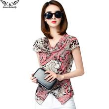 2017 high quality women top kimono blouses shirts chiffon casual vintage tops plus size M 5XL