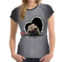 FORUDESIGNS New Fashion Women T Shirts Short Sleeve Blue Denim Kawaii 3D Animal Cat Pet Dog
