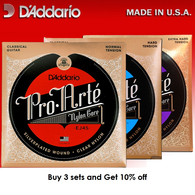 D'addario Pro Arte Nylon Core Classical Guitar Strings set, Normal/Hard Tension EJ43 EJ44 EJ45 EJ46 EJ49 EJ59 alice ac139 classical guitar strings titanium nylon silver plated 85 15 bronze wound 028 0285 inch normal and hard tension