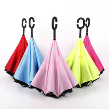 Car Necessary Windproof Reverse Folding Double Layer Inverted Umbrella Self Stand Rain Protection Distinctive C-Hook Hands-free 15pcs windproof reverse folding double layer inverted chuva umbrella self stand inside out rain protection c hook hands for car