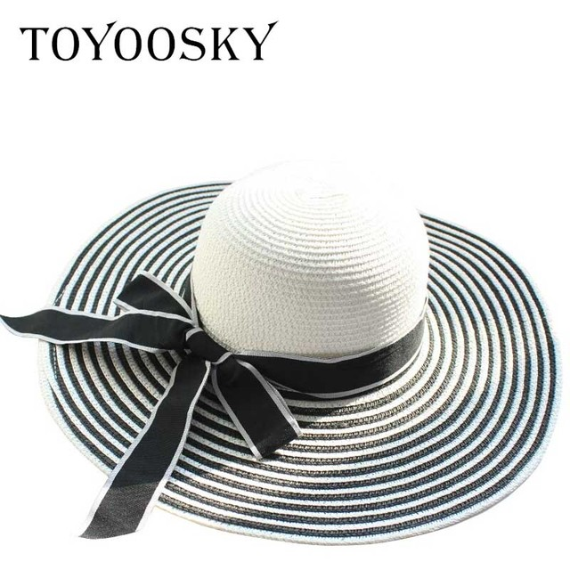b186f52e7 US $12.0 |Hot Sale Fashion Hepburn Wind Black White Striped Bowknot Summer  Sun Hat Beautiful Women Straw Beach Hat Large Brimmed Hat-in Women's Sun ...