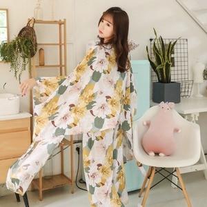 Image 3 - 春秋の女性パジャマ服 4 ピースセット女性のパジャマは nightsuit パジャマセットレジャー花 pijamas ホームウェア