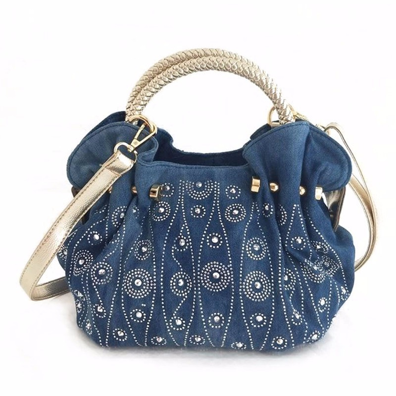 Famous brand women handbags fashion women rivet bags high quality denim messenger bag famous brand women bag high quality 100