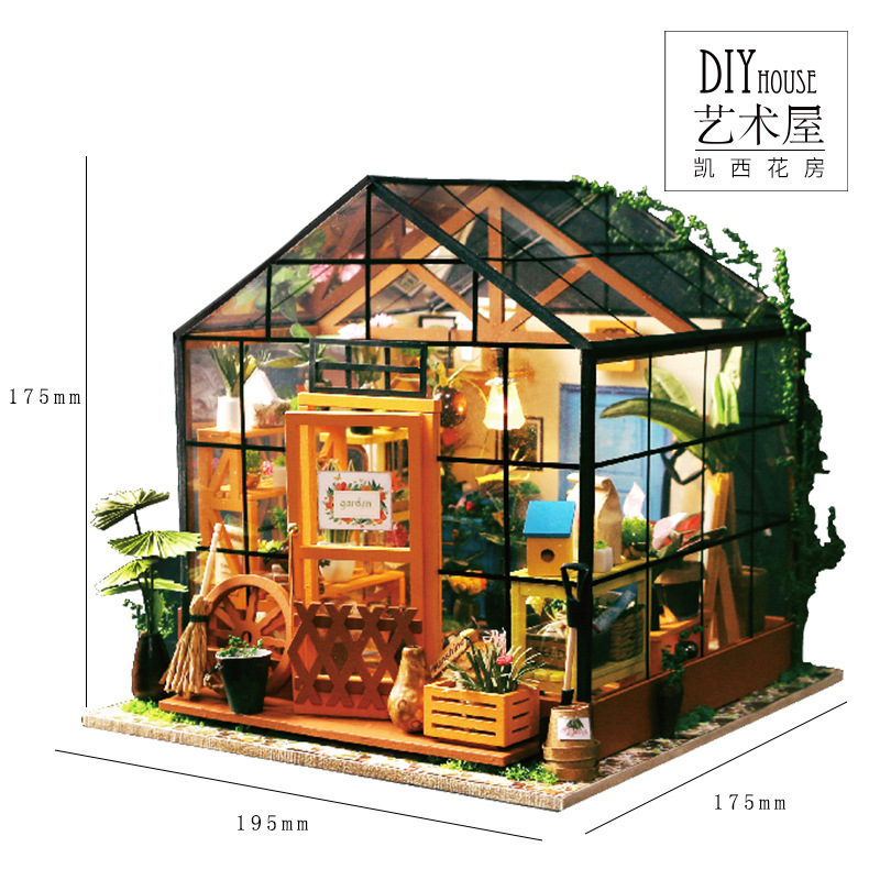DG104 Miniatura Wooden DIY Doll House Furniture Dollhouse Miniature 3D garden Puzzle Toy Model Kits Toys-Casey greenhouse large size diy wooden miniatura doll house with light music furniture handmade 3d miniature dollhouse toys wedding gits