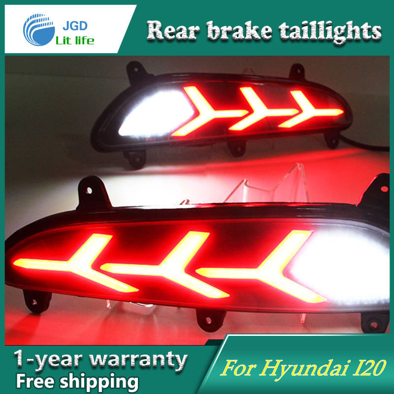Car Styling Rear Bumper LED Brake Lights Warning Lights case for Hyundai I20 Asta 2016 2017 Tail Brake Stop DRL Fog Light dongzhen fit for nissan bluebird sylphy almera led red rear bumper reflectors light night running brake warning lights lamp
