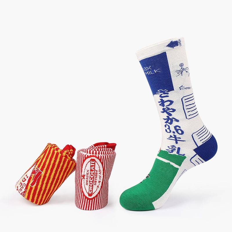 Fashion Brand Socks Men High Quality 80% Cotton Stripes Milk Box Style Novelty Funny socks Calcetines Size 36-43