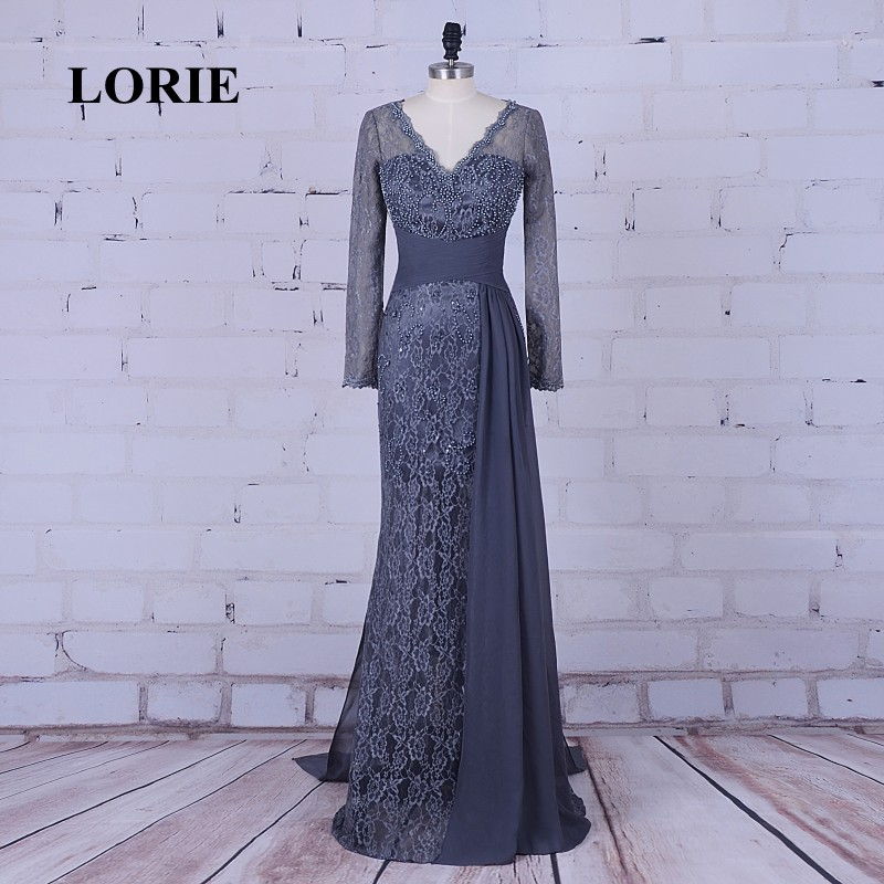 LORIE Mermaid Mor Evening Dress Långärmad V-Hals Appliques Lace Beaded Lace Prom Dress Party Långärmade Klänningar de la mer de la mariee