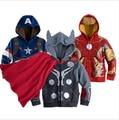 Novo Bebê Meninos Casacos para a Primavera Outono Meninos de Bebê Fresco Com Capuz Casaco Acolchoado Roupas Cosplay homem De Ferro Thor