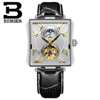 Binger colouring Gold Hollow Automatic Mechanical Watches Men Luxury Brand Leather Strap Casual Vintage Skeleton Watch Clock rel ks black skeleton gun tone roman hollow mechanical pocket watch men vintage hand wind clock fobs watches long chain gift ksp069