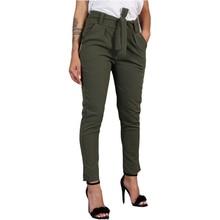 Harajuku Slim Pencil Trousers Women 2019 Spring Autumn Long Pants Khaki Green Black Casual Pants Belt Fashion Office Trousers