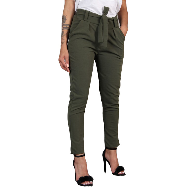 Harajuku Slim Pencil Trousers Women 2019 Spring Autumn Long Pants Khaki Green Black Casual Pants Belt Fashion Office Trousers
