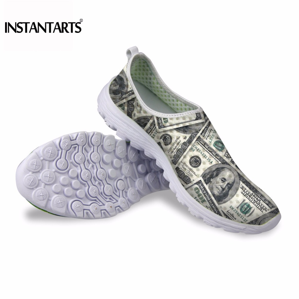 INSTANTARTS 2018 Summer Spring Breathable Mesh Women Flats Shoes Sneakers for Youth Girl Colorful Woman Slip-on Sneakers Zapatos instantarts cute glasses cat kitty print women flats shoes fashion comfortable mesh shoes casual spring sneakers for teens girls