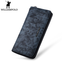 WILLIAMPOLO Vintage Long Wallet Men Genuine Leather Fashion Superstar Style Designer Purse Big Card Holder Clutches Phone Wallet