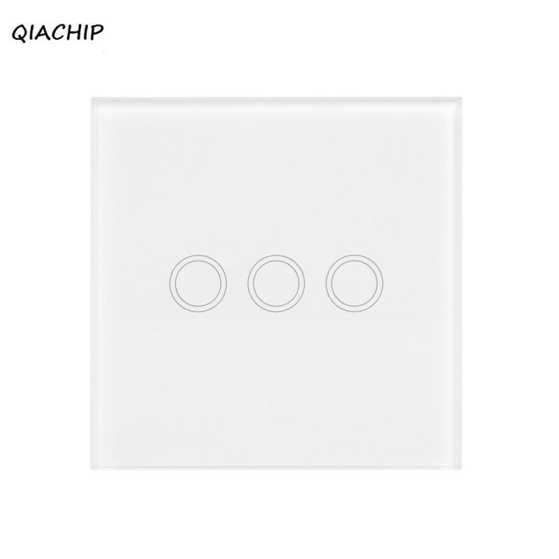 Wireless 86 Crystal Tempered Glass Touch Wall Panel Transmitter 3 Gang 433 MHz RF Switch Learning Code 1527 Remote Control S2