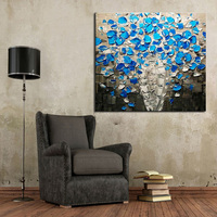 New Design Wholesale Unique Design High Quality Handmade Living Room Blue Flower Oil Painting On Canvas
