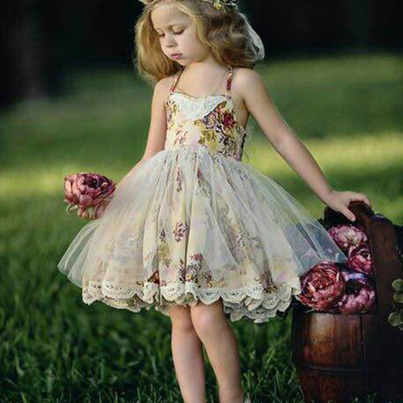 New Girls Summer Floral Dress Princess Kids Knee-Length Ball Gown Lace Sling Wedding Dresses For Party Children Beach Dress цена