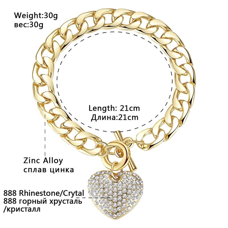 Minmin lijepo zlato / srebro boja narukvice za žene srce kristal - Modni nakit - Foto 3