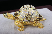 Big Size faberge turtle jewelry trinket box Turtle Crystals Jewellery Jeweled Trinket Gift Box Turtle russian