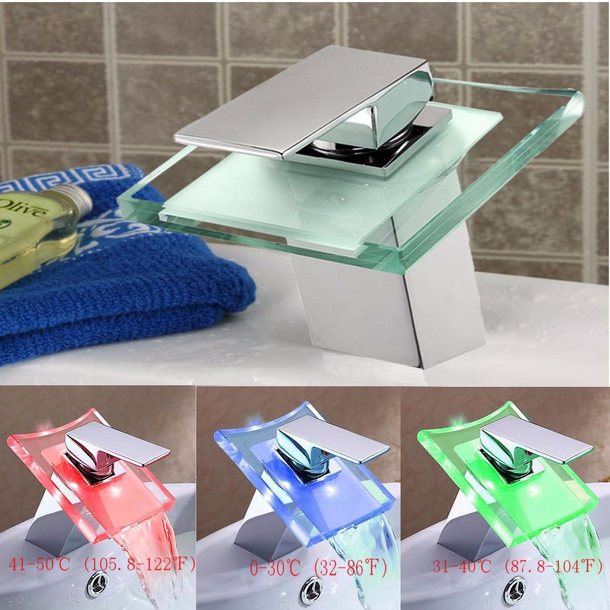Xueqin LED qui change de couleur en verre massif cascade bassin robinet mitigeur de lavabo mitigeur pont monté froid et chaud finition Chrome