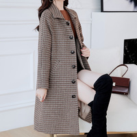 Women Coat Autumn lattice Coats Jackets Warm Padded Wool Blends High Quality Long Manteau Femme Casaco Feminino Plus size XXL
