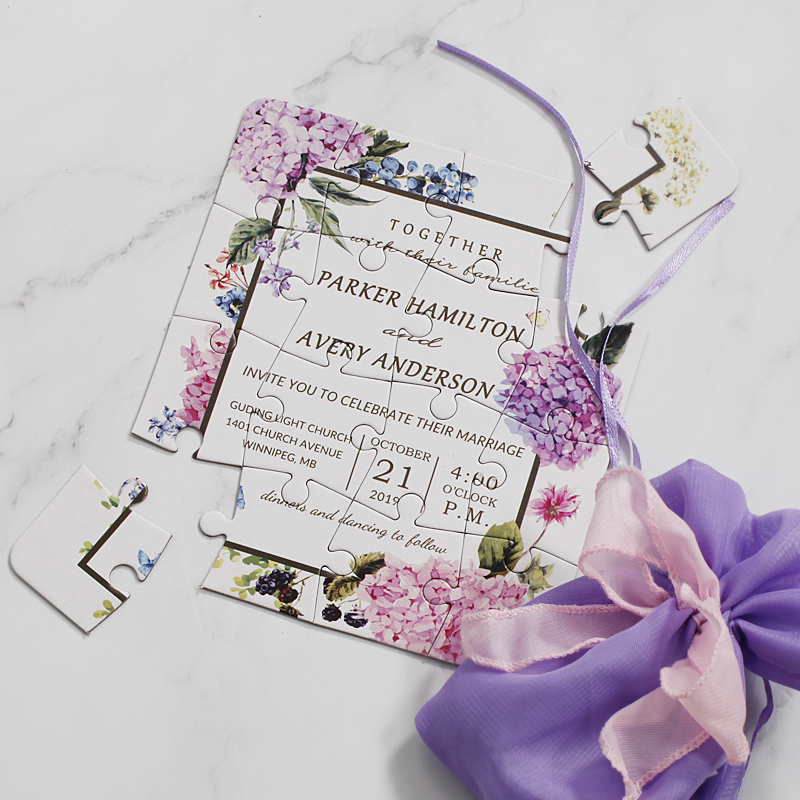 Tarjeta de invitación de boda personalizada Original rompecabezas cualquier idioma del país texto personalizado cualquier pedido de cantidad-in Tarjetas e invitaciones from Hogar y Mascotas    3