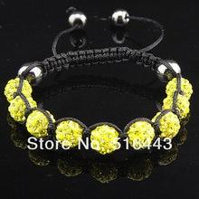 Charms 10mm Lemon Yellow CZ Crystal Clay Disco Ball Stainless steel Women  Mens Shamballa Bracelets Adjustable A-717 769bdfd2f6ed