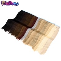 DinDong 22 inch Synthetic Heat Resistant Hair Extension Tape In Hair Extensions Invisible Double Drawn Straight Skin Weft Hair