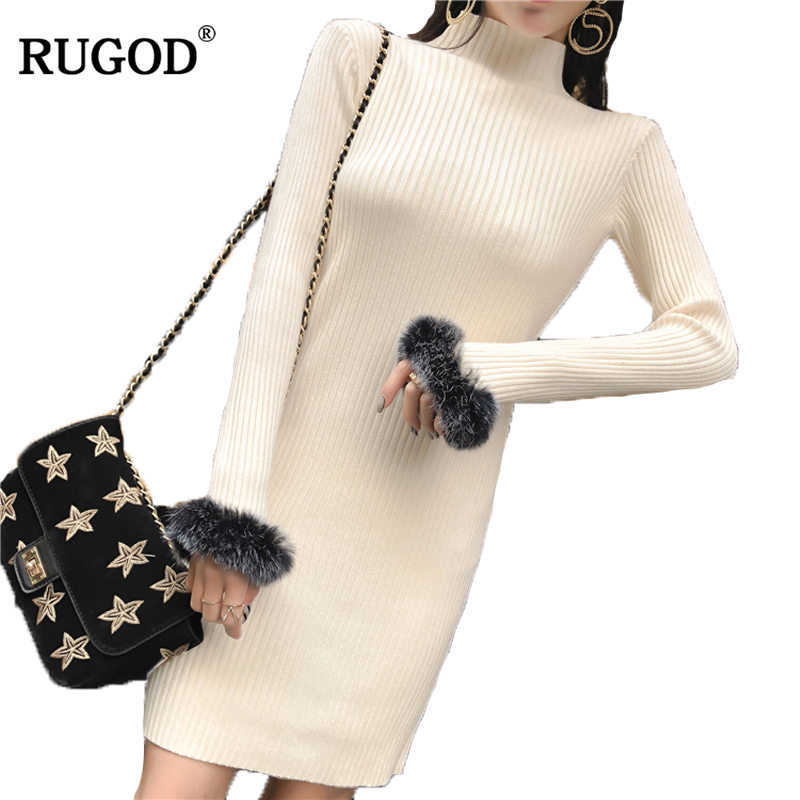 RUGOD Newest Casual Turtleneck Long Knitted Sweater Dress Women Cotton slim bodycon Dress pullover female Autumn Winter Dress
