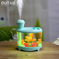 Fish Tank 460ml Fish Tank USB Humidifiers LED Light Air Ultrasonic Humidifier Essential Oil Aroma Diffuser