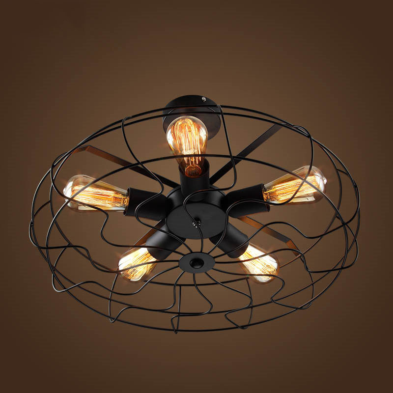 Vintage 5Heads E27 E26 Ceiling Lights  Black Iron Retro Industrial Fan Ceiling Lights American Country Kitchen Loft Ceiling Lamp for Bar Loft Decor  (6)