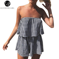 Lily Rosie Girl Off Shoulder White Plaid Women Playsuit Sexy Sleeveless Short Rompers Summer Beach Party