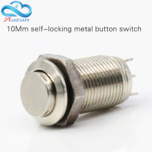 10 mm high self-locking metal push button switch 1 normally open normally closed three feet