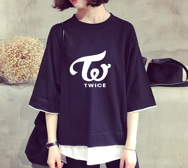 Practical 2018 New Kpop Twice Summer Korean Version Solid Color Fake Two K-pop Jungyeon Womens Short-sleeved T-shirt Nourishing The Kidneys Relieving Rheumatism T-shirts Tops & Tees