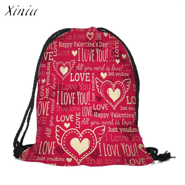 ed70377207 2018 New Valentine's Day Drawstring Bag Sack Workout Travel Backpack Bags  Unisex Men Women School Bag