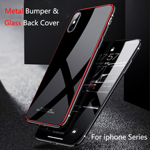 Aluminum Metal Frame Case For iphone XS Max XR Case Tempered Glass Back Cover for iphone XR XS X 6 6S 7 8 Plus Metal Bumper Case baseus frapiph6 rt0g aviation aluminum protective bumper frame case for 4 7 iphone 6 grey