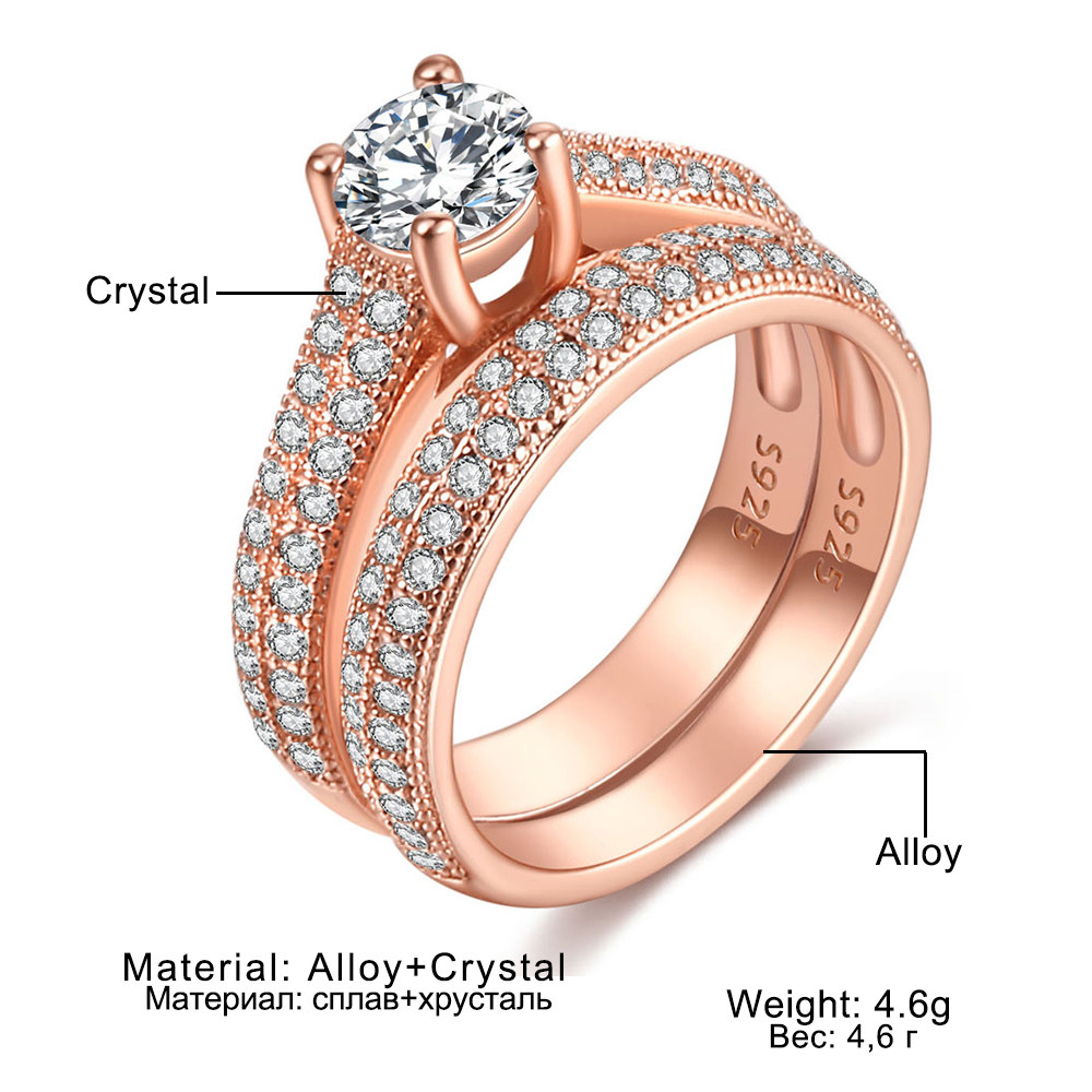 Luxury Female White Bridal Wedding Ring Set Fashion Silver Color Filled Jewelry Promise CZ Stone Engagement Rings For Women 6
