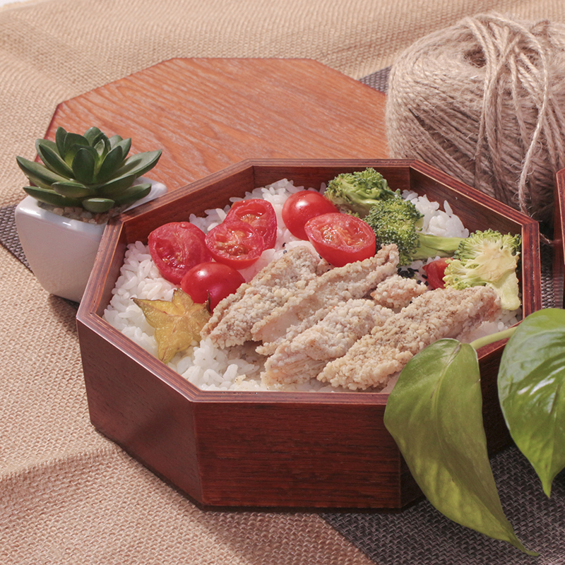Boîte à Lunch en bois Style japon solide bois pique-nique extérieur boîte à sushis fruits secs Portable Double boîte à Bento vaisselle en bois