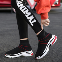 MYNEYGRE Women Running Shoes 2018 New Sport Shoes Sneakers Woman Athletic Socks Breathable Walking Slip On Footwear Black Red